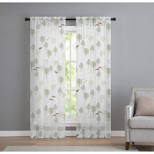 NICETOWN Custom Pattern, Hearder, Size Inches, Printed Sheer Curtains, Sold as 1 Panel.