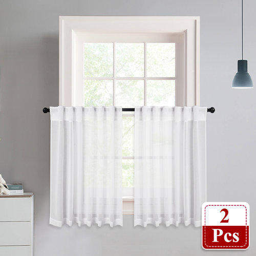 NICETOWN Rod Pocket & Back Tab Semi Doris Sheer Valances Linen Look Voile Tiers, 2 Panels, 55 Inches Wide