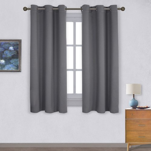 NICETOWN Thermal Insulated Grommet Blackout Curtains for Bedroom, 42 Inches Wide, 2 Panels