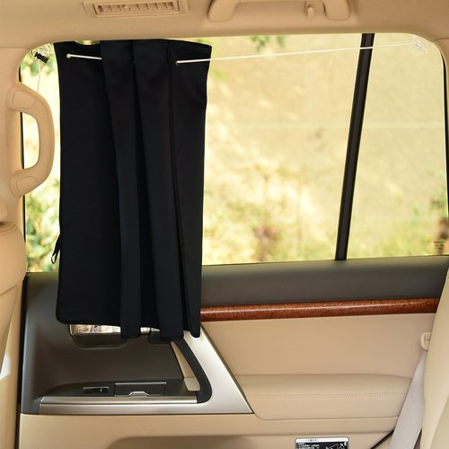 Side Window Sunshades Car Curtains - Energy Saving Blackout Vehicle Drapes with Suction Cups Protect Privacy fit any cars (2 Pieces, W 27.5  x L 20.5 Inches  )