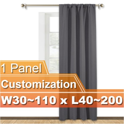 NICETOWN Customized Rod Pocket Blackout Curtain, Width 30-110 Inch, Length 40-200 Inch, Sold as 1 Panel