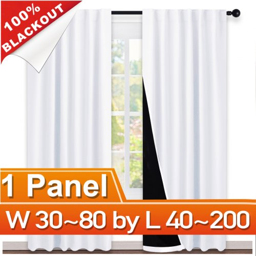 NICETOWN Rod Pocket&Hidden Tab 100% Blackout Curtain, W 30~80, L 40~200 Inches, 1 Panel.