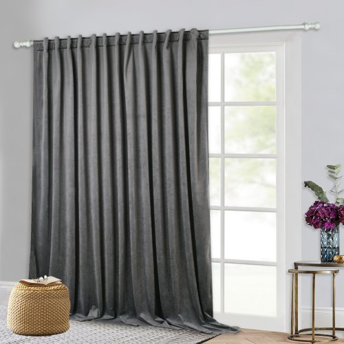 Velvet Curtains Drapes - Thick Velvet Texture Blackout Window Treatments Set Extra Wide 100 Inches Luxury Home Decor Soundproof Privacy Screen with Back Tab for Bedroom, 100 ,1Pc