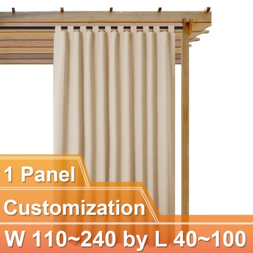 NICETOWN Customized Outdoor Top Tab Blackout Curtain, W110~240 by L40~100 Inches, 1 panel
