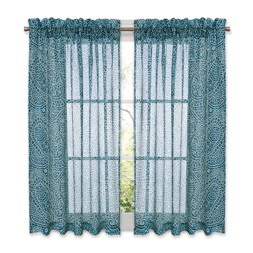 NICETOWN Window Treatment Bedroom Sheer Curtains - Home Fashion Paisley Pattern Faux Linen Voile Drapes/Draperies for small window, 52 Inches  wide