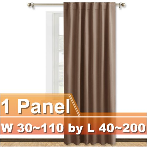 NICETOWN Customized Rod Pocket Blackout Curtain,Width 30-110 inch, Length 40-200 inch, Sold as one panel