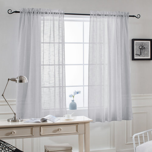 NICETOWN Rod Pocket Faux Linen Sheer Curtains, 52 Inches Wide, 2 Panels