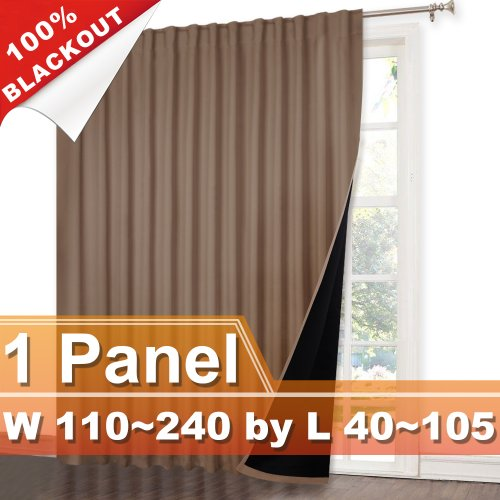 NICETOWN Rod Pocket&Hidden Tab 100% Blackout Curtain, W 110~240, L 40~105 Inches, 1 Panel.