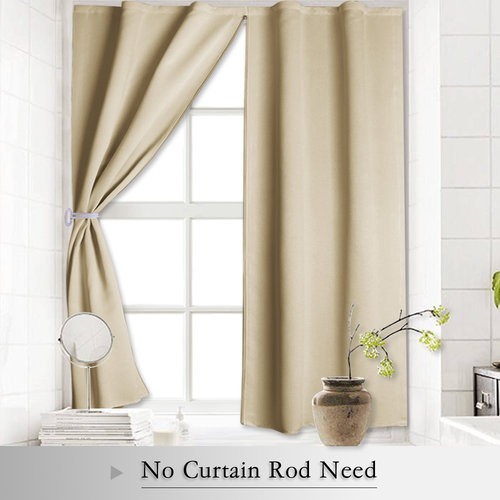 Blackout Curtain Shades - Window Blind Insulated Panels with Zipper & Free Velcro Strap No Curtain Rod Need for Bedroom / Kitchen, 52 Inches W