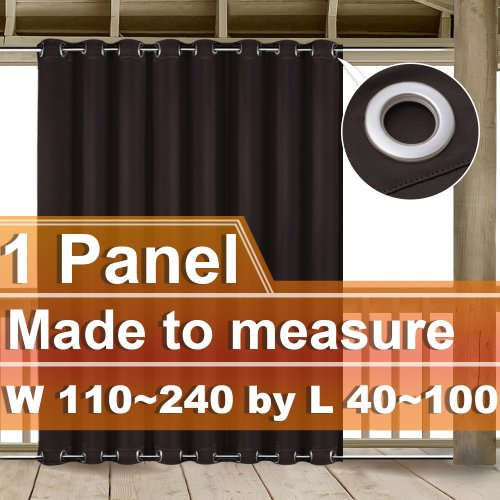 NICETOWN Customized Outdoor Top and Bottom Grommet Blackout Curtain, W110~240 by L40~100 Inches, 1 panel