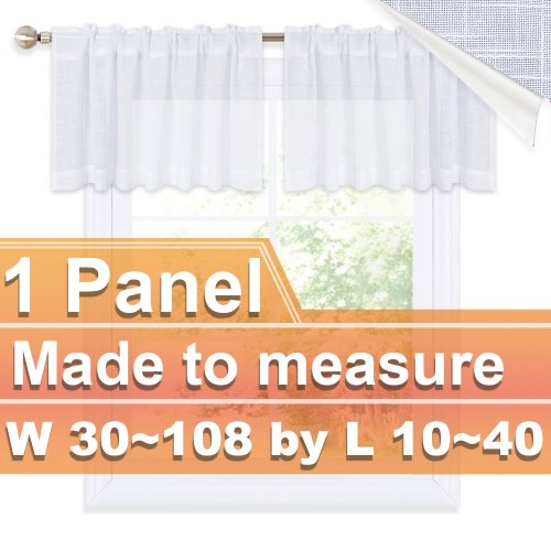 NICETOWN Customized Faux Linen Rod Pocket Sheer Valance for Kitchen, W30~108 by L10~40, Inches, 1 panel