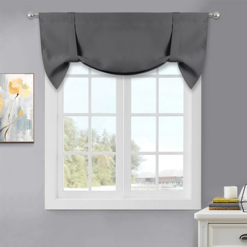 NICETOWN Tie Up Curtain for Kitchen - Two-Tone Rod Pocket Window Curtain Valance with Pick-Up Accents, Home Decor Balloon Shade for Any Room, 46  Width x 20  Length, 1 Pc