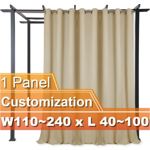 NICETOWN Customized Outdoor Grommet Blackout Curtain, W110~240 by L40~100 Inches, 1 panel