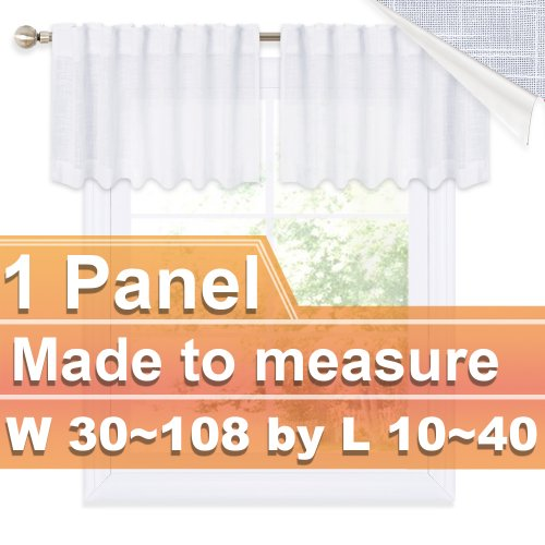 NICETOWN Customized Faux Linen Rod Pocket&Back Tab Sheer Valance for Kitchen, W30~108 by L10~40, Inches, 1 panel