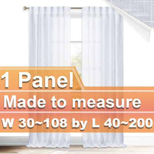 NICETOWN Customized Faux Linen Rod Pocket&Back Tab Sheer Curtains for Bedroom Living Room, W30~40 by L40~200, Inches, 1 panel