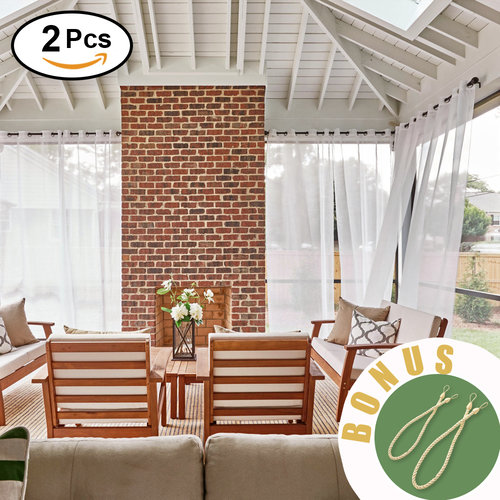 NICETOWN Outdoor Sheer Curtains for Patio - Translucence Sheer Linen Look Outdoor Curtains, Waterproof and Dry Fast Grommet Top Outside Panels with Rope Tiebacks, 2 Pieces, 54 Inch Wide, White