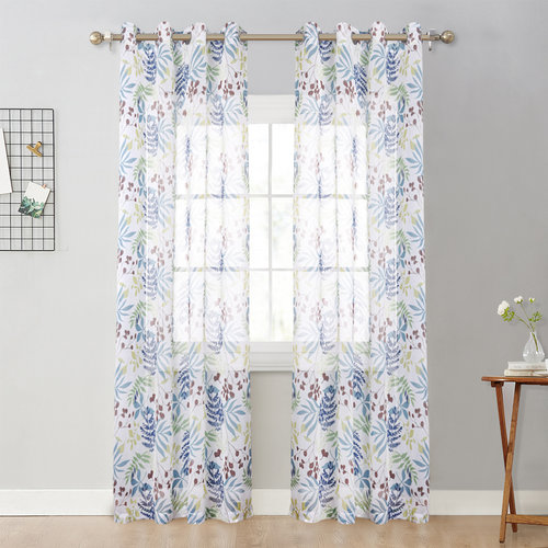 NICETOWN Colorful  Leaves Print Sheer Curtains Forest Leaves Patterns Flax Touching Window Draperies Spring Style for Kids Room Decor, 52 Inch Wide, 1 Pair