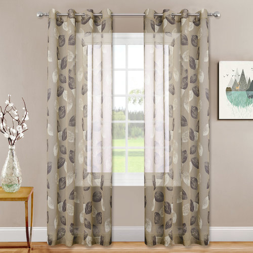NICETOWN Leaf Print Sheer Curtains - Modern Style Faux Linen Textured Sheer with Two-Tone Leaves Pattern Window Drapes for Bedroom, W52 Inch, 1 Pair