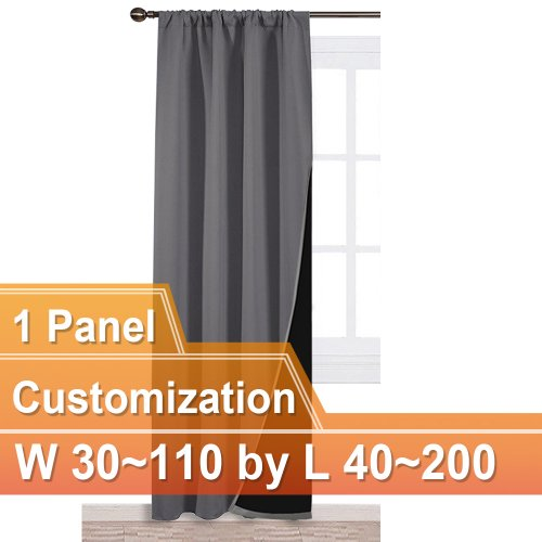 NICETOWN Rod Pocket 100% Blackout Curtain, W 30~110, L 40~200 Inches, 1 Panel.