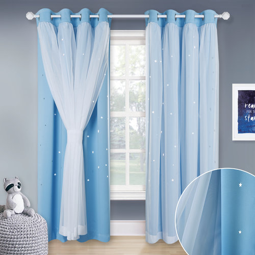 NICETOWN White Sheer & Blackout Drapes Assembled, Mix & Match Star Cut Curtain Panels With Versatile Styling Options for Living Room, Nursery Room (Each is W52 Inch, Sold by 2 Pcs)