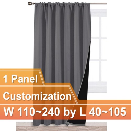 NICETOWN Rod Pocket 100% Blackout Curtain, W 110~240, L 40~105 Inches, 1 Panel.