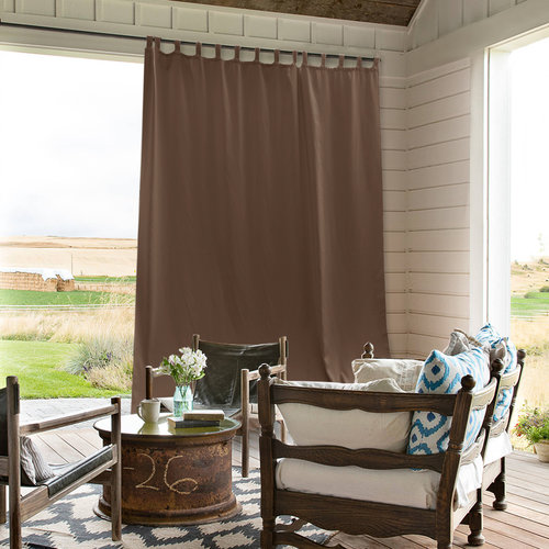 NICETOWN Outdoor Curtain Panel for Patio - Vertical Blinds Thermal Insulated Tab Top Blackout Slider Drape for Outside Pavilion/Lounge/Balcony/Lounge, Tan, Single Panel, 100