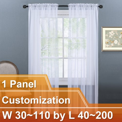 NICETOWN Sheer Curtain Panels Light Weight Rod Pocket Drapes, Customize Inch, W30~110 by L40~200, 1 Panel.