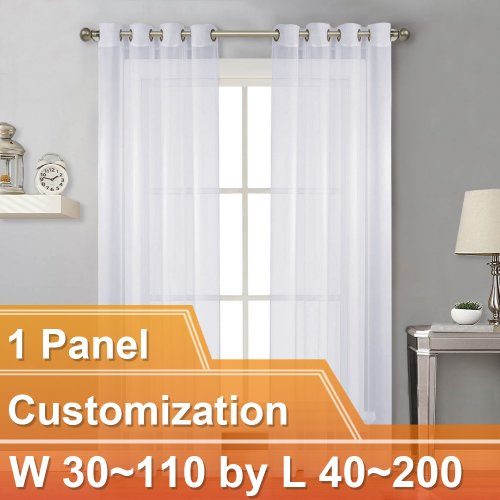 NICETOWN Sheer Curtain Panels Light Weight Grommet Top Drapes, Customize Inch, W30~110 by L40~200, 1 Panel.