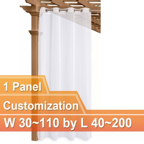 NICETOWN Custom Grommet Outdoor Sheer Voile Curtain Panel, 1 Panel with Rope Tieback, 30~110 Wide by 40~200 Inch Long, White
