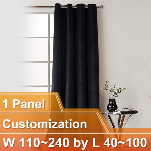 NICETOWN Luxury and Soft Velvet Curtains with Grommet, W110~240 by L40~100 Inches, 1 panel