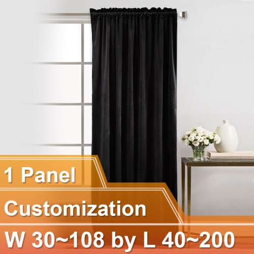 NICETOWN Luxury and Soft Velvet Curtains with Rod Pocket,W30~108 by L40~200 Inches, 1 panel