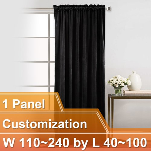 NICETOWN Luxury and Soft Velvet Curtains with Rod Pocket, W110~240 by L40~100 Inches, 1 panel