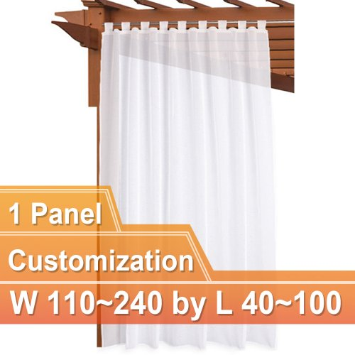 NICETOWN Custom Top Tab Outdoor Sheer Voile Curtain Panel, 1 Panel with Rope Tieback, 110~240 Wide by 40~100 Inch Long, White