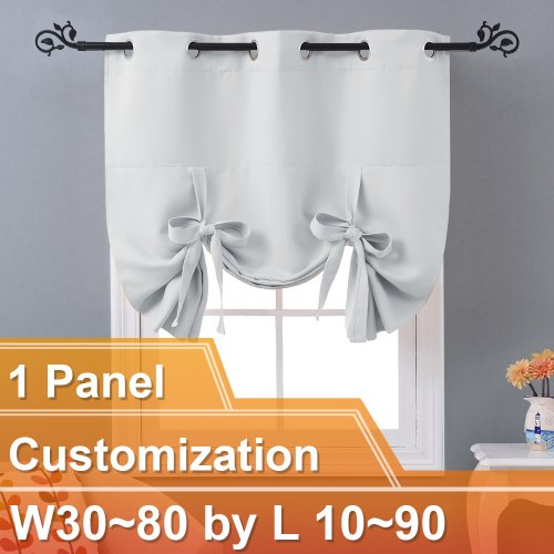 NICETOWN Blackout Adjustable Tie Up Shade Balloon Valance Blind, W30~80 by L 10~90 Inch, Grommet, 1 Panel