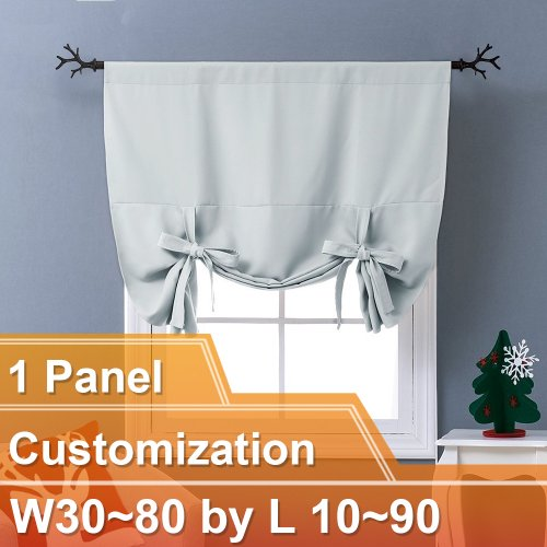 NICETOWN Blackout Adjustable Tie Up Shade Balloon Valance Blind, W30~80 by L 10~90 Inch, Rod Pocket, 1 Panel
