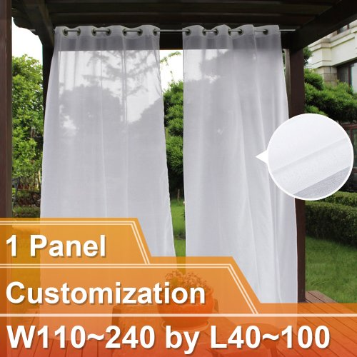 NICETOWN Semi Voile Outdoor Doris Sheer Curtains with Grommet Top, 1 Panel with 1 Rope Tieback, W110~240 by L40~100, In