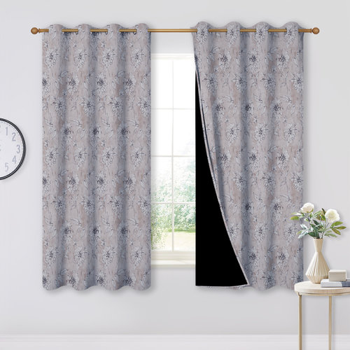 NICETOWN 100% Blackout Print Curtains - Abstract Floral Patterns 52  Wide for Home Decor, 2 Panels