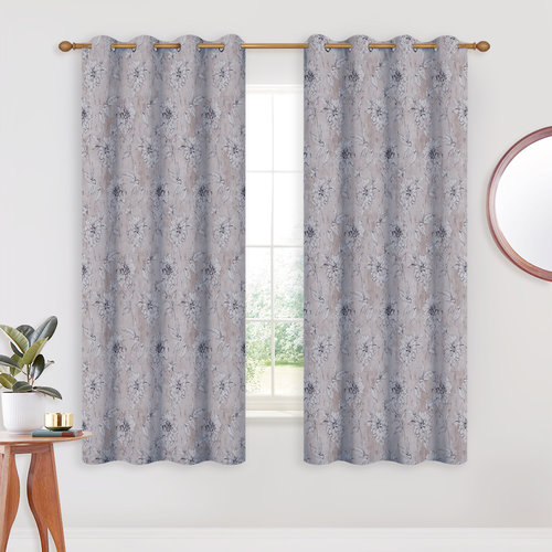 NICETOWN Elegant Dahlia Print Curtains - Ring Top Energy Saving Fashionable Decorative Window Draperies Room Darkening Panels for Nursery Room, 52  W, 1 Pair