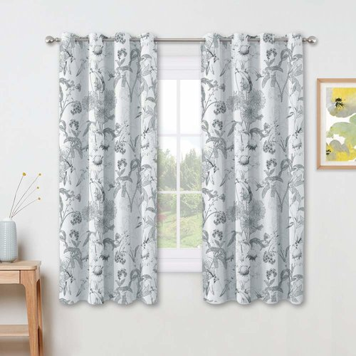NICETOWN Window Curtains - Thermal Insulated Leaves/Floral Printed Design Curtain Drapes with Grommet Decoration for Dining Room, W 52  Inches, Set of 2