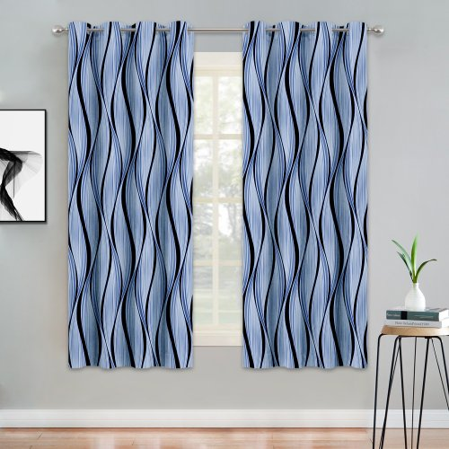 NICETOWN Canyon Style Room Darkening Curtains with Geometric Curve Printed Pattern Curtains Panels for Living Room / Bedroom 52 W, Sold as 2 Panels