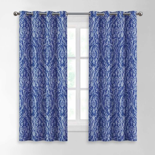 NICETOWN Artistic Decorative Print Curtains - Room Darkening Heavy Weight Vertical Panels with Damask Pattern in Retro Style for Cottage, 2 Panels