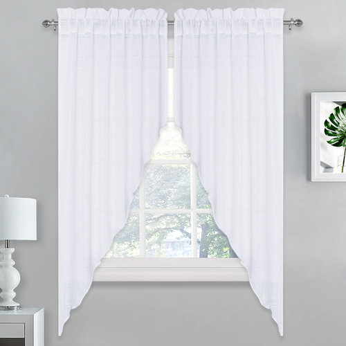 NICETOWN Linen Look Sheer Swags, 36 x 36 & 36 x 63 inches