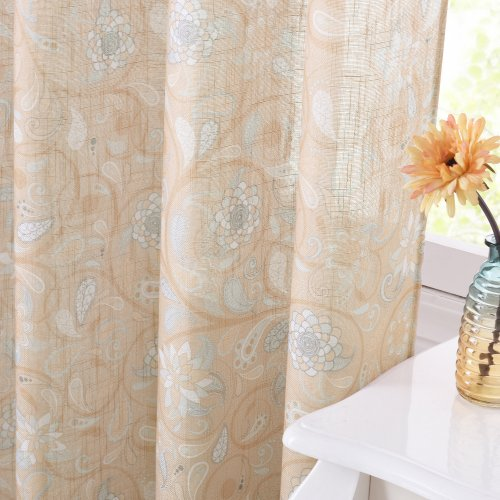 Small Window Decor Curtains - Linen Sheer Curtains Half Transparent Vintage Floral Printed Voile Privacy Drapes for Sun Room Bathroom Farmhouse Foyer