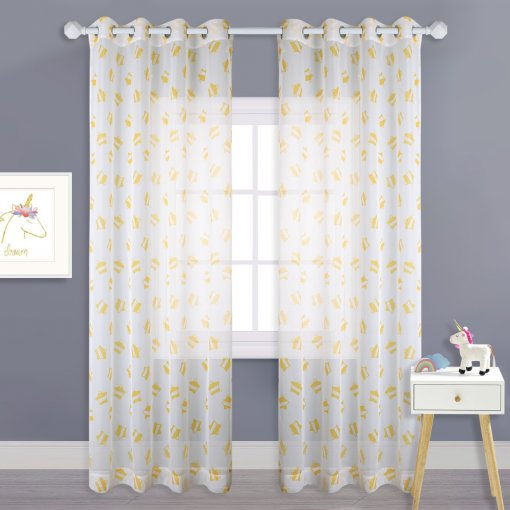 NICETOWN Star Patterned Voile Panels - Baby Nursery Curtains Printed Semi Sheer Space Curtain for Kids Bedroom / Boys Room / Living Room, 1 Pair, 52 In Wide Each Panel