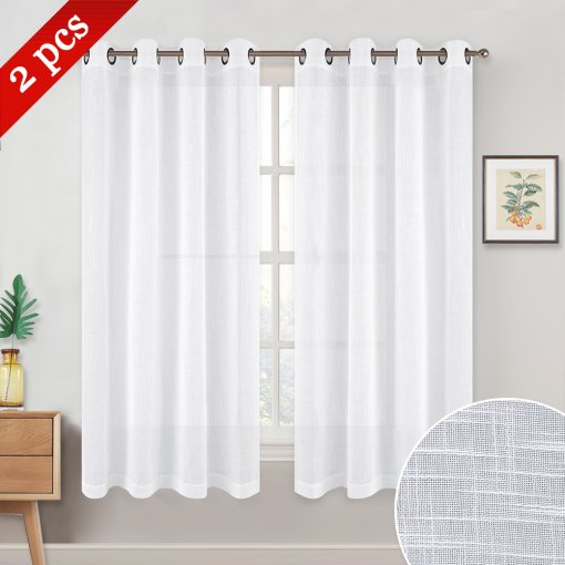 NICETOWN Faux Linen Sheer Curtains Grommet Header Type, 52 Inches Wide, 2 Panels