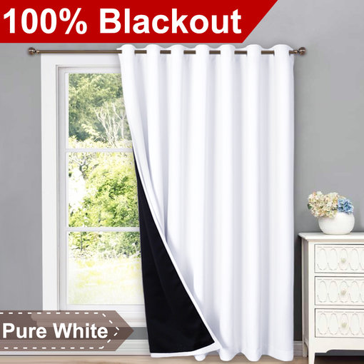 NICETOWN Full Shading Curtains for Patio Door, Super Heavy-duty Thermal Backing Sliding Glass Door Drape with Silver Grommet, Privacy Assured Window Treatment(1 Panel, 100W x 84L / 95L / 108L Inches)