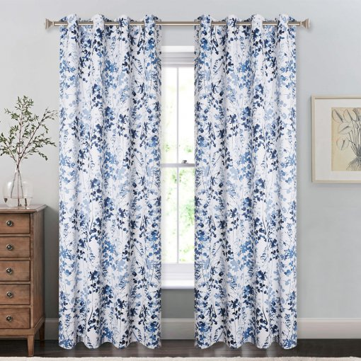NICETOWN Printed Blackout Curtains with Pattern - Sunlight Reducing / UV Ray Blocking Grommet Top Window Drapery, Elegant Ink Foliage Patterned Home / Office Decoration,W52 Inch, 2 Pieces