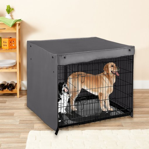 NICETOWN Dog Kennel Cover - High Quality 100% Polyester Pet Cage Covers Blackout Shades Breathable for Animal Universal Fit Most Metal Crate Sizes / Light Block & Privacy Protect for Dogs | Cats | Birds