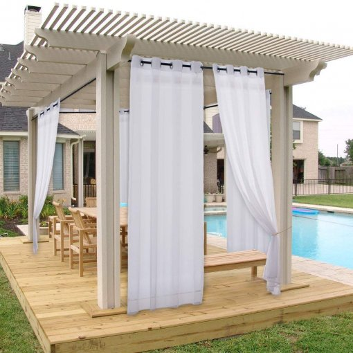 NICETOWN Outdoor Sheer Curtains with Grommet Top, 54 Inches Wide, White