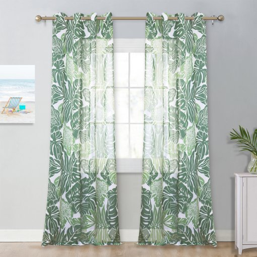 NICETOWN Leaf Print Sheer Curtains - Semi Transparent Grommet Top Faux Linen Draperies Southeast Asian Style Window Panels for Glass & Patio Door, 52 Inch Wide, 1 Pair